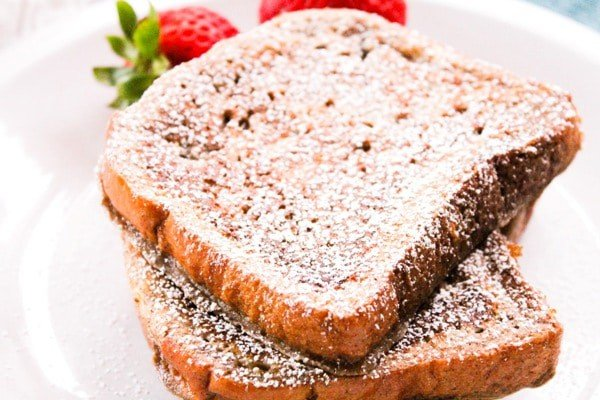 french toast sliced on a plate