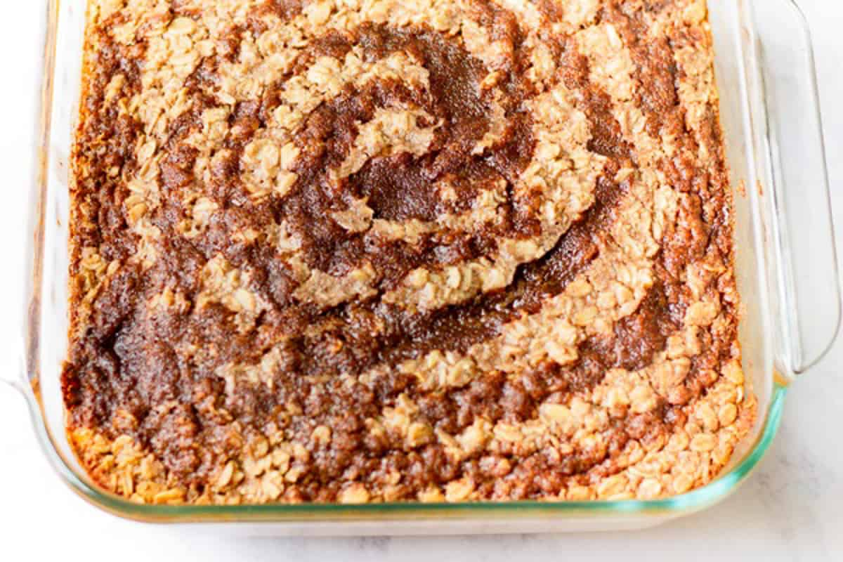 cinnamon swirl on baked oatmeal