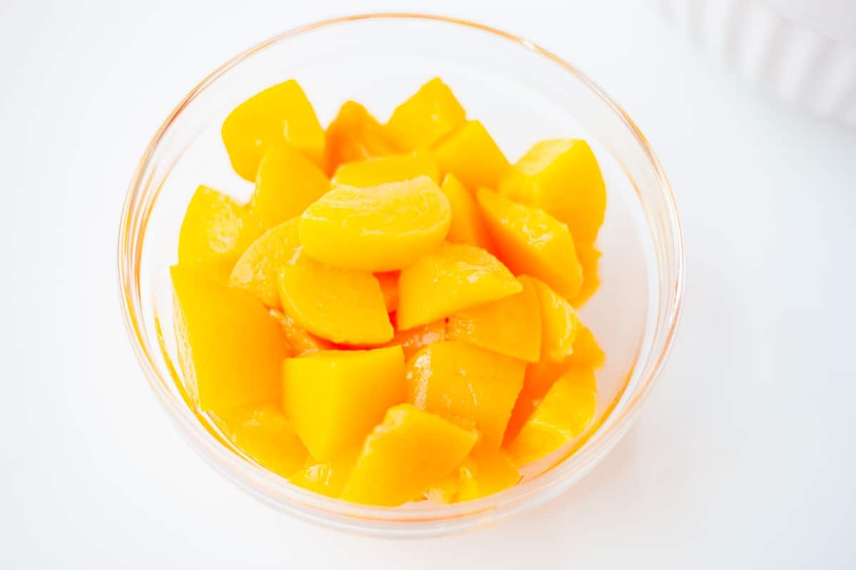 canned peaches chopped in a bowl