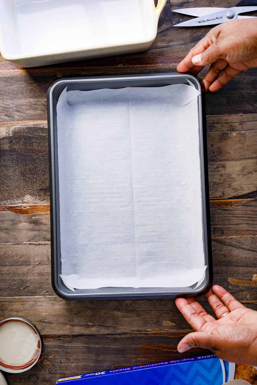 rectangle sheet pan with parchment