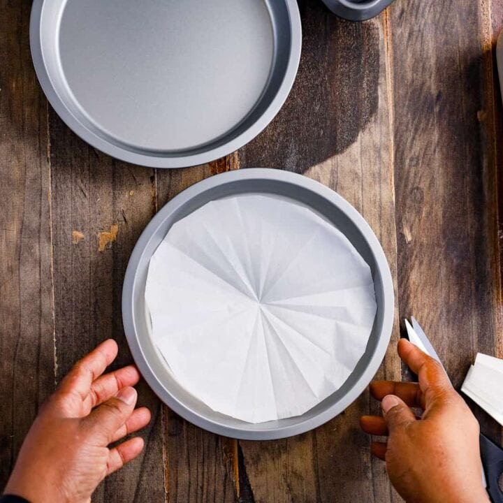 round cake pan lined with parchment