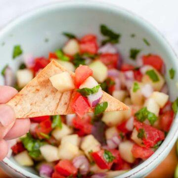 salsa on a pita chip