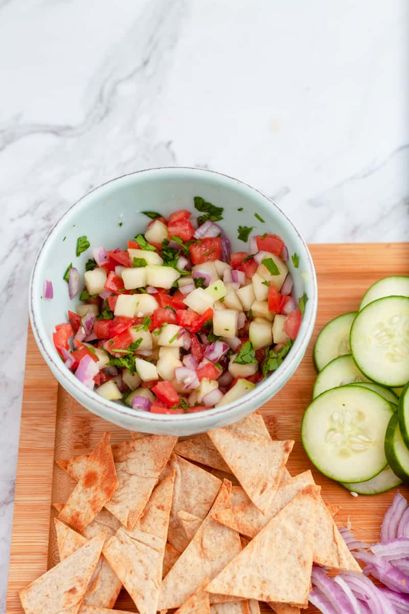 salsa in a bowl with lavash pita chips