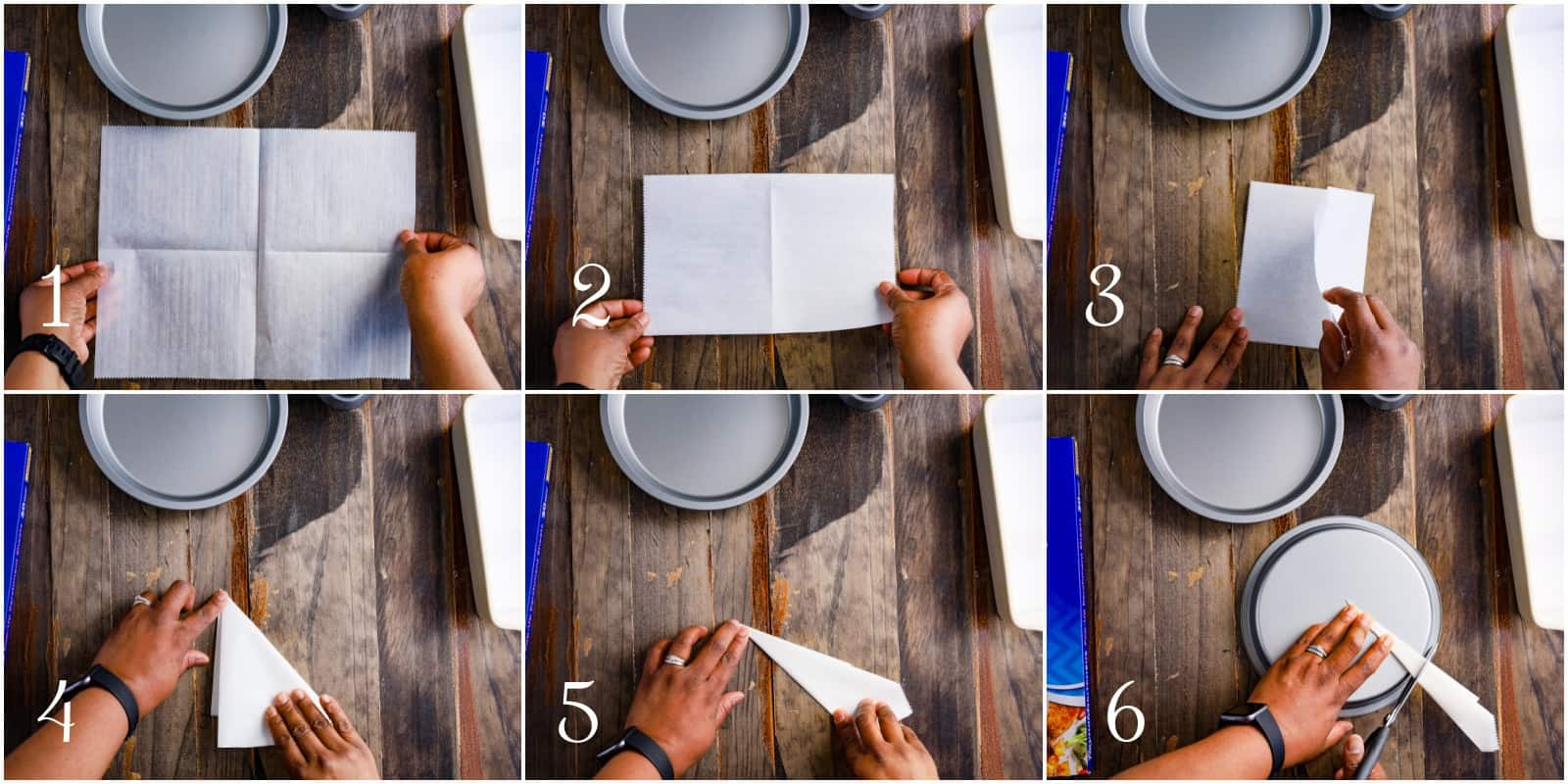 collage of steps to line round cake pans