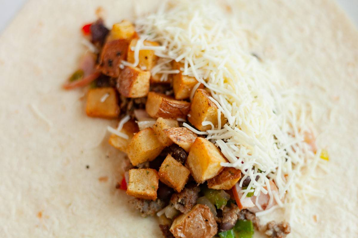 building a egg free breakfast burritos