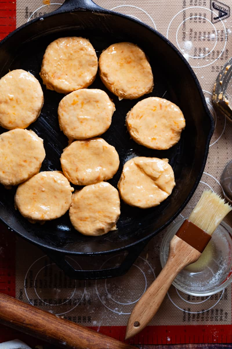 sweet potato biscuits in a skillet