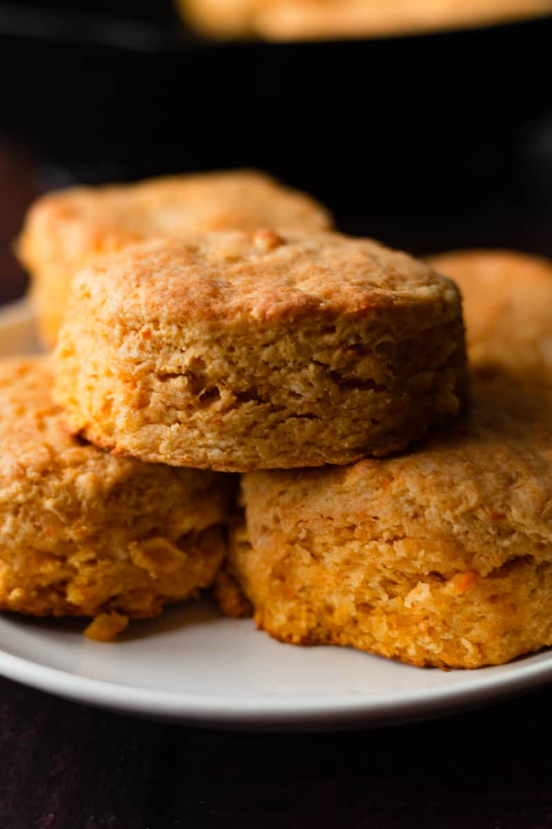 plate of biscuits stacked