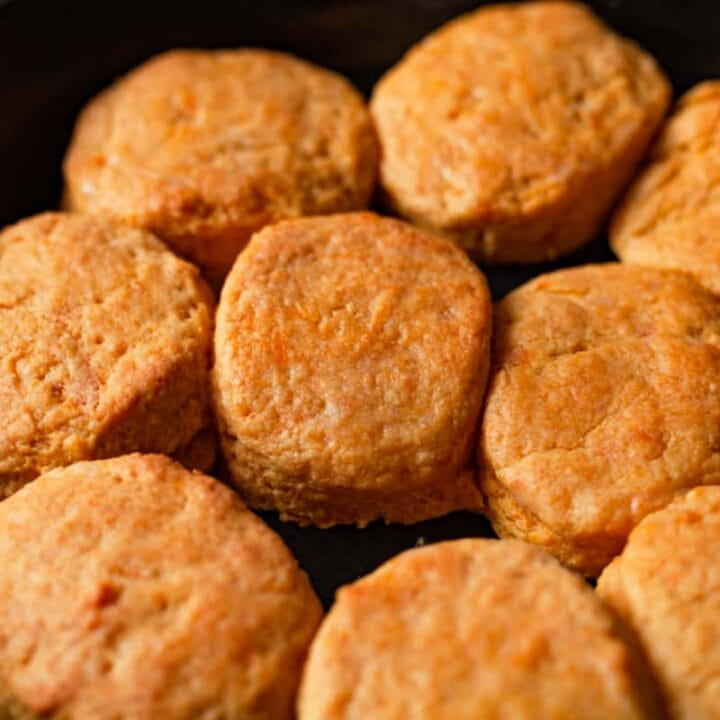 sweet potato biscuits in a skillet backed