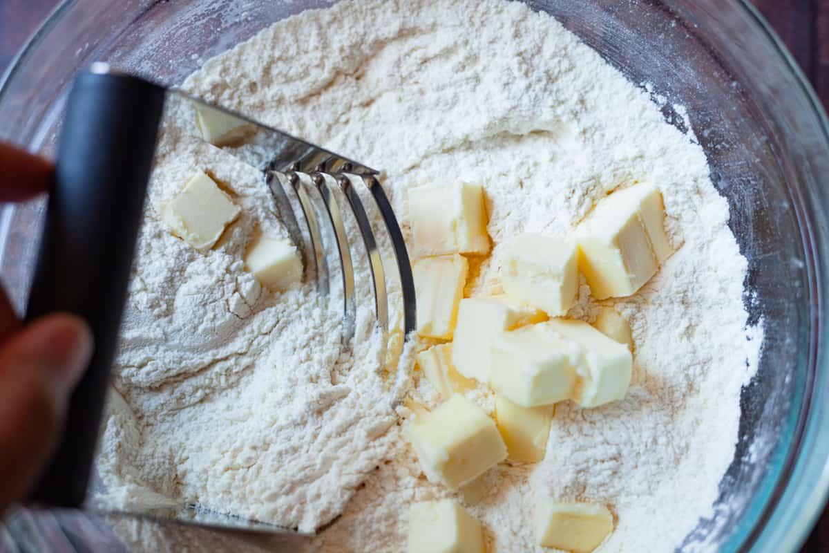 cutting butter in flour