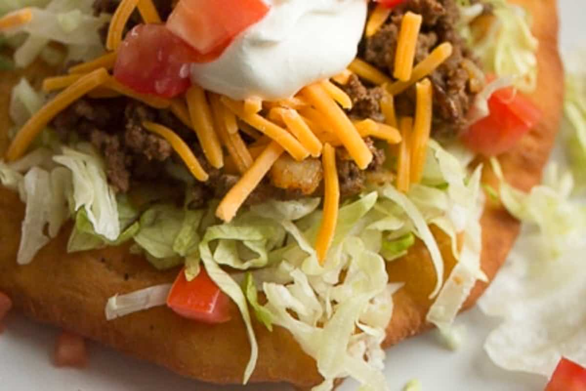 Frybread taco on a plate close up
