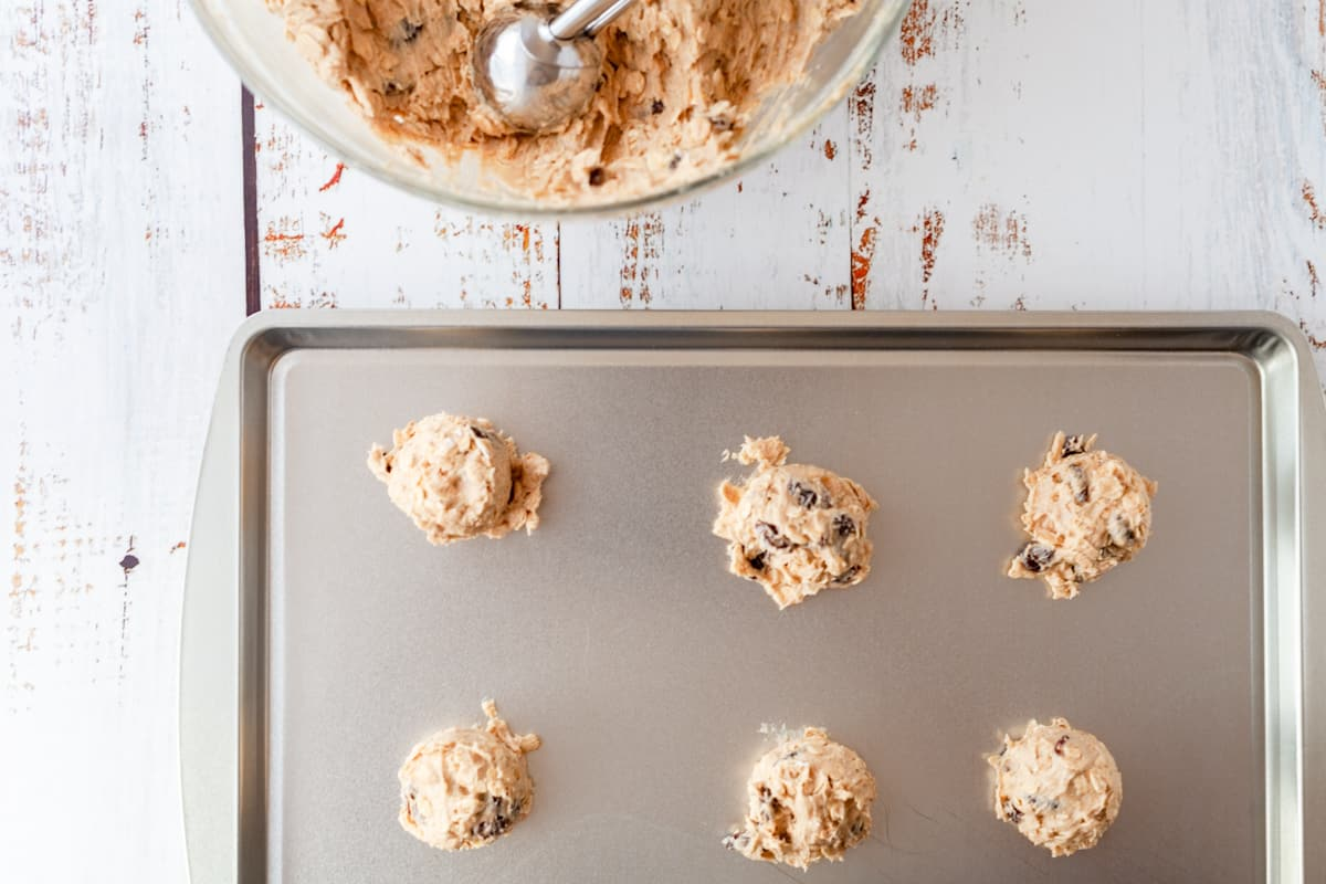 old fashioned cookie dough on a baking sheet