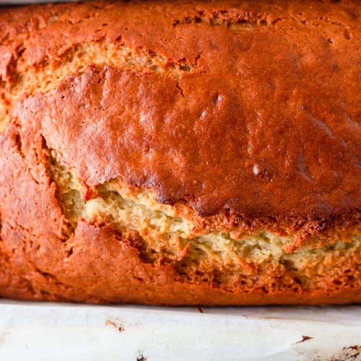 loaf of olive oil banana bread close up