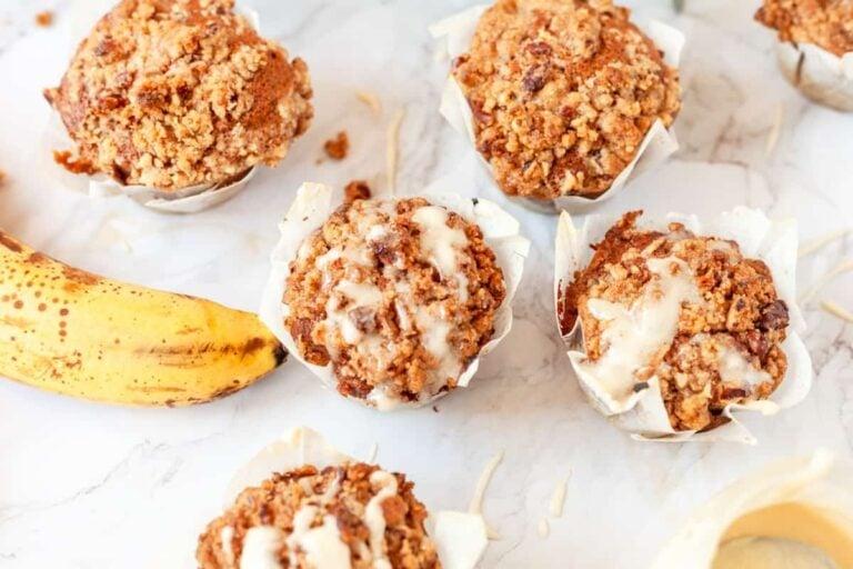Pecan Streusel Banana Coffee Cake Muffins