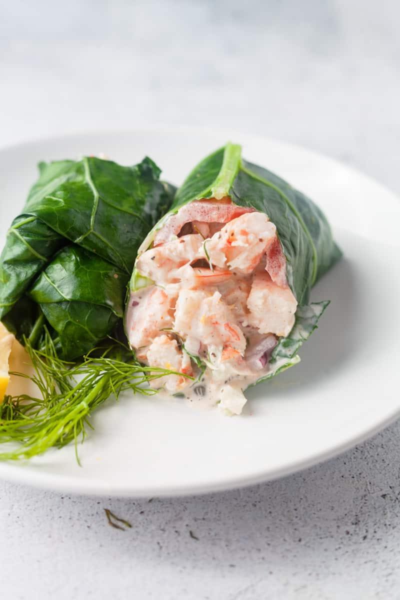 maryland shrimp salad in a collard green wrap vertical image