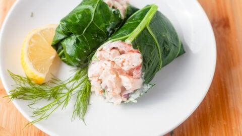 maryland shrimp salad in a collard green wrap