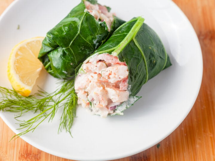 maryland shrimp salad in a collard green wrap