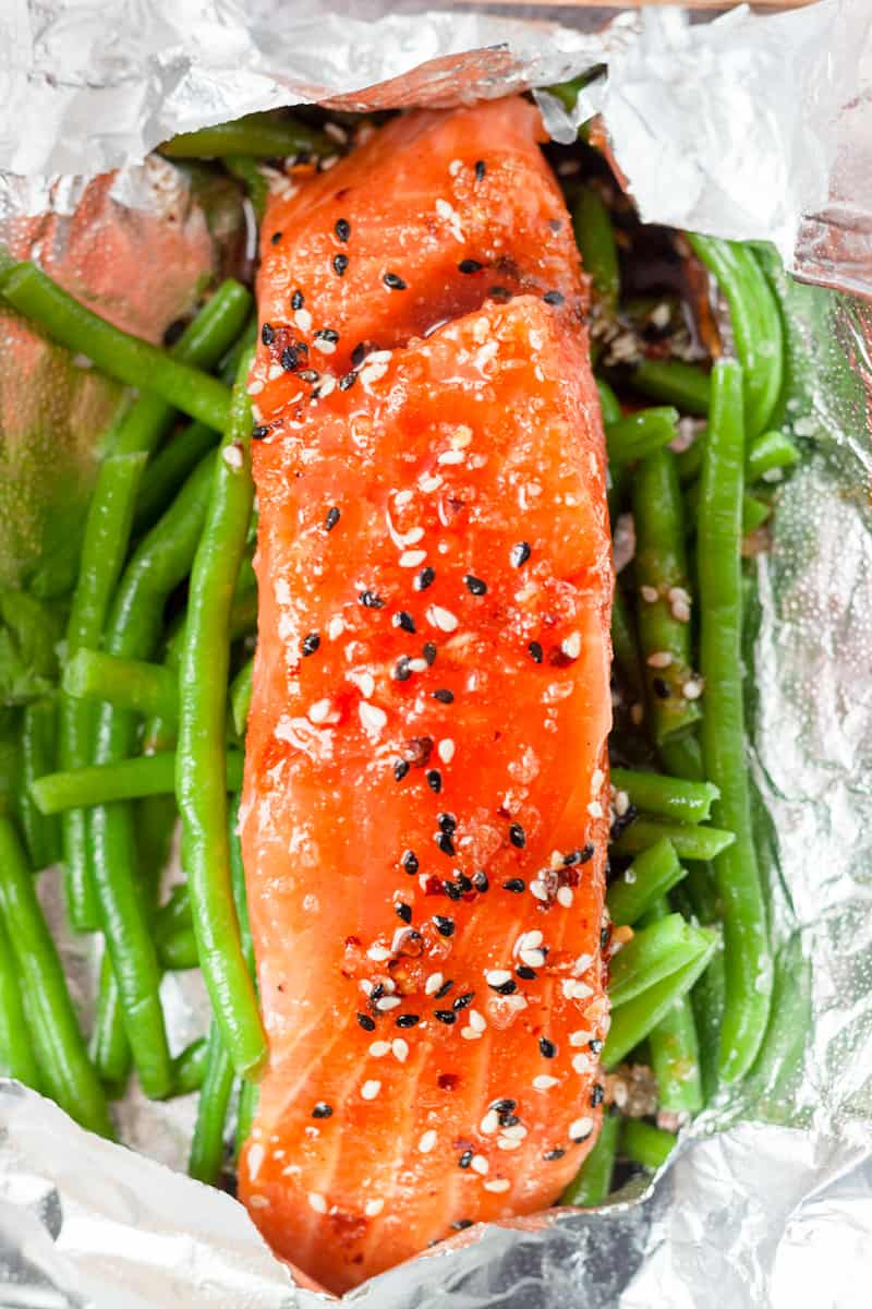 sesamon soy sauce over fresh salmon