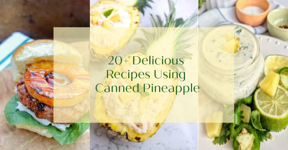 collage image of pineapple recipes