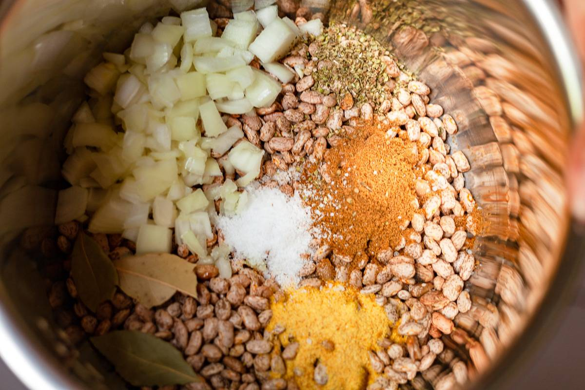 seasoned beans for the pressure cooker