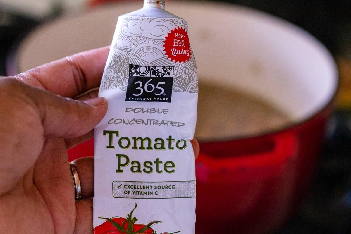 a tube of tomato paste