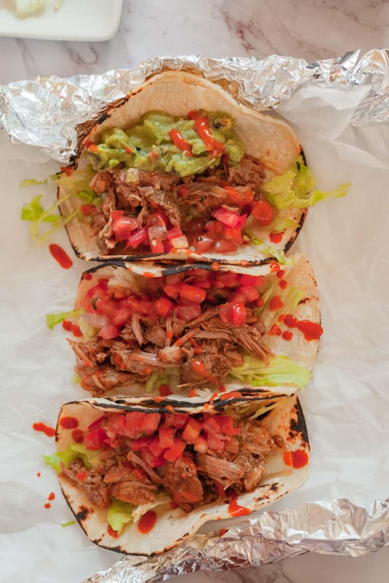 pork carnitas tacos vertical