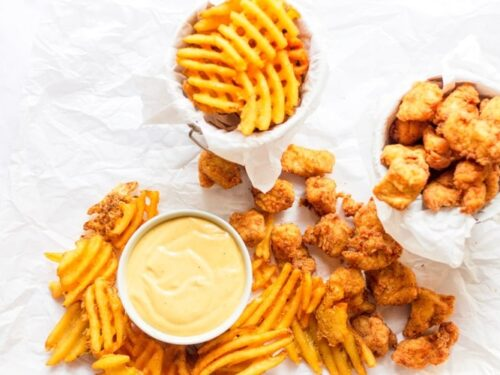 copycat chick-fil-a nuggets with sauce and fries