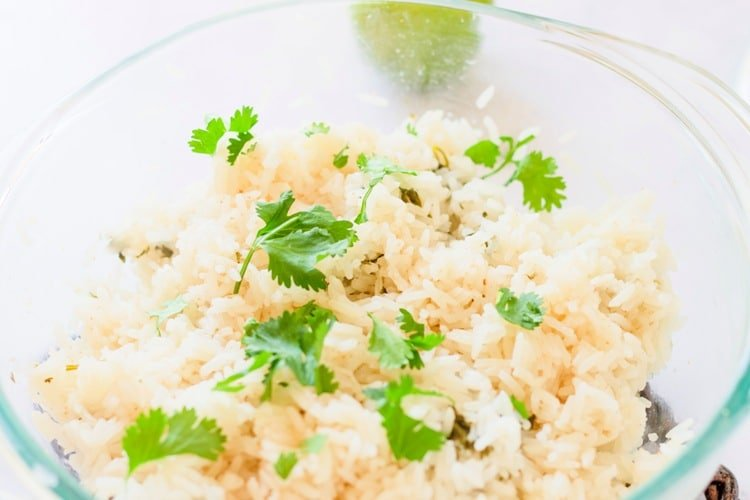 Cilantro lime rice in a glass bowl