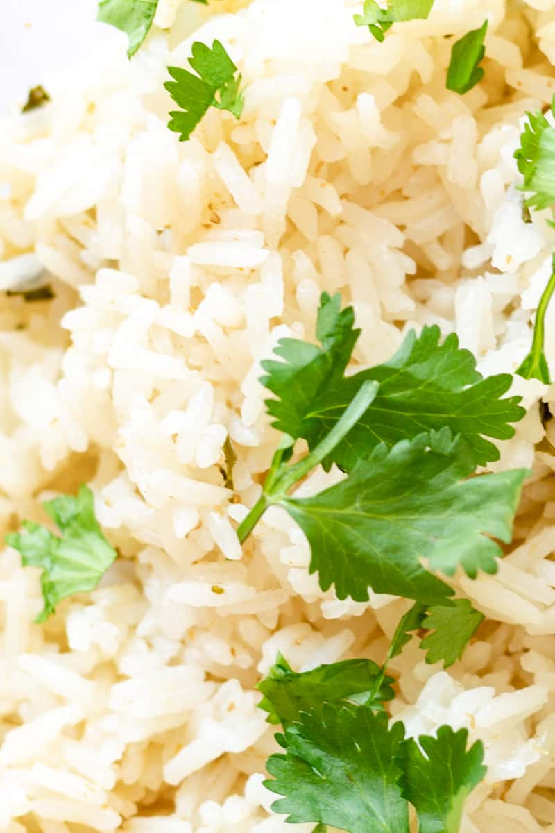 cilantro lime rice close up