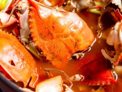 crab sheels in a pot
