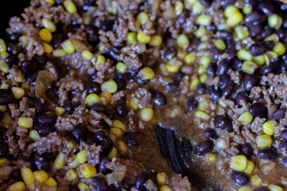 cooked beef with black beans and corn