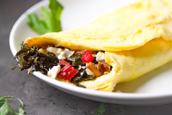 close up of a collard green omelet