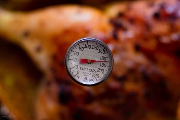 Thermometer in a cooked chicken
