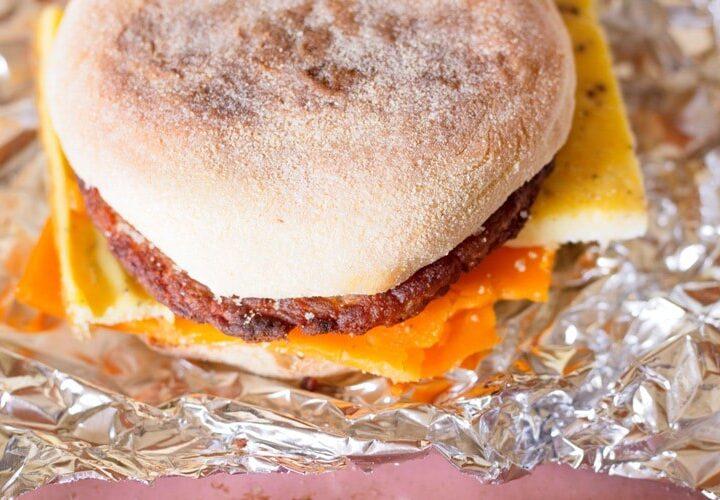 baked eggs on a sandwich