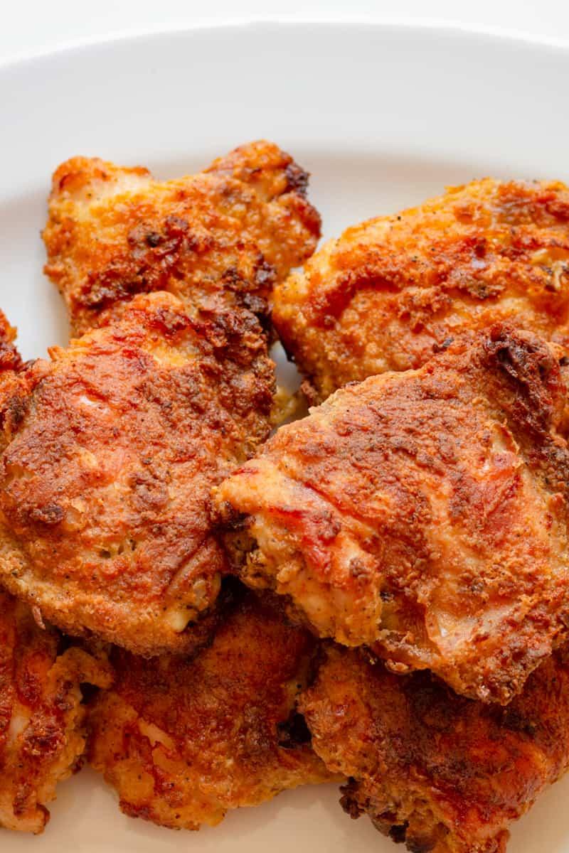 crispy oven fried chicken on a platter