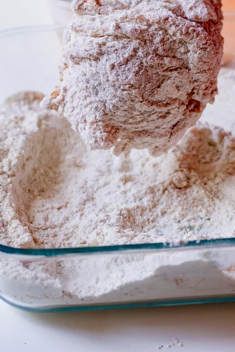 flour dipped chicken thigh