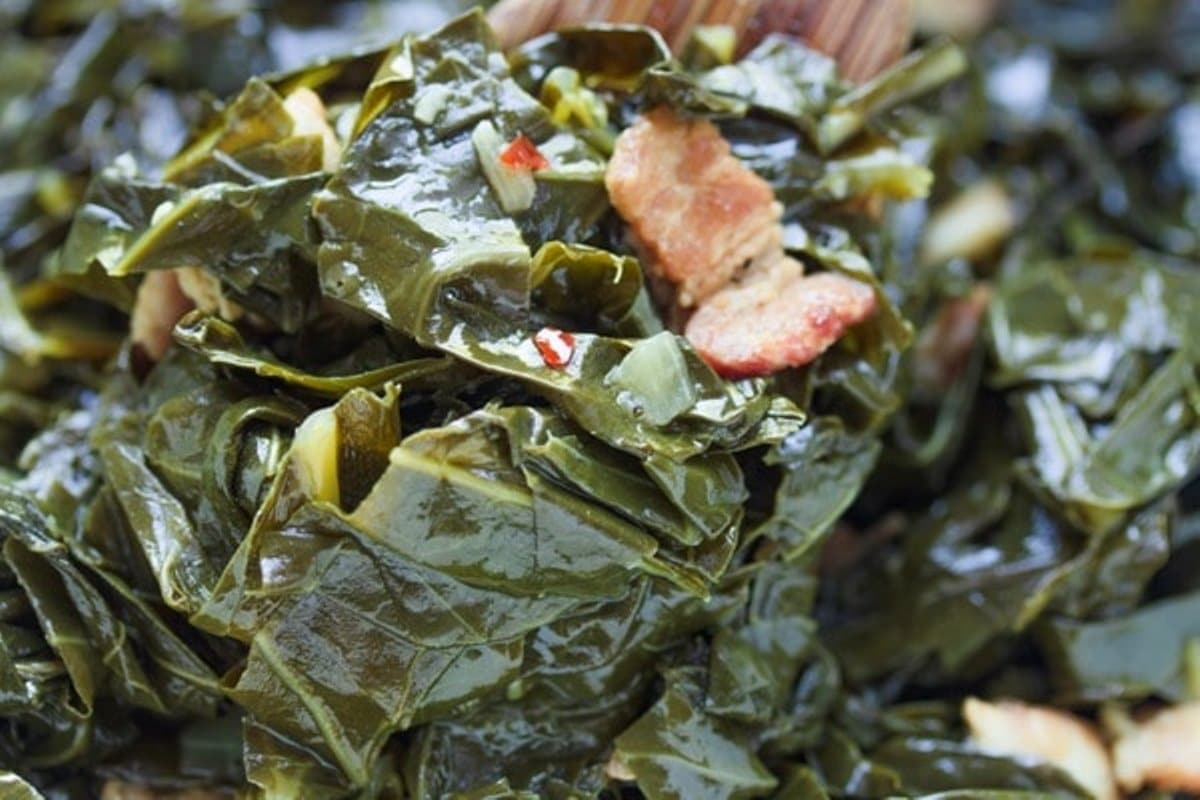 collard with bacon close up