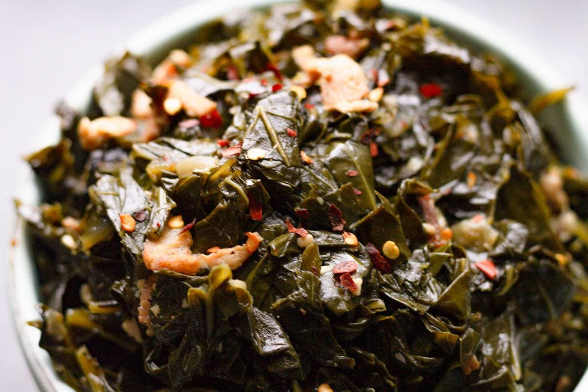spicy collard greens with bacon