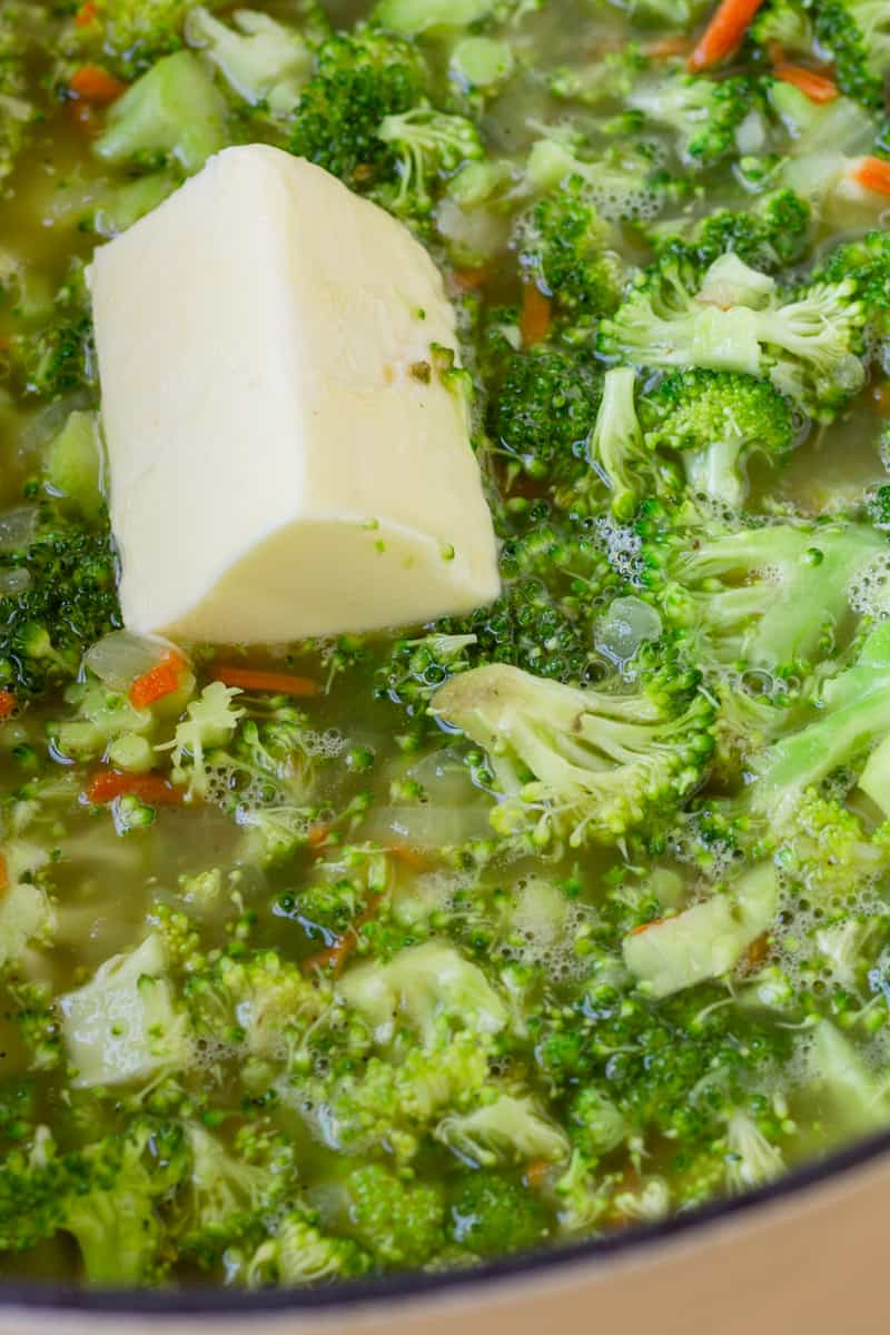 butter in a pot of broccoli soup