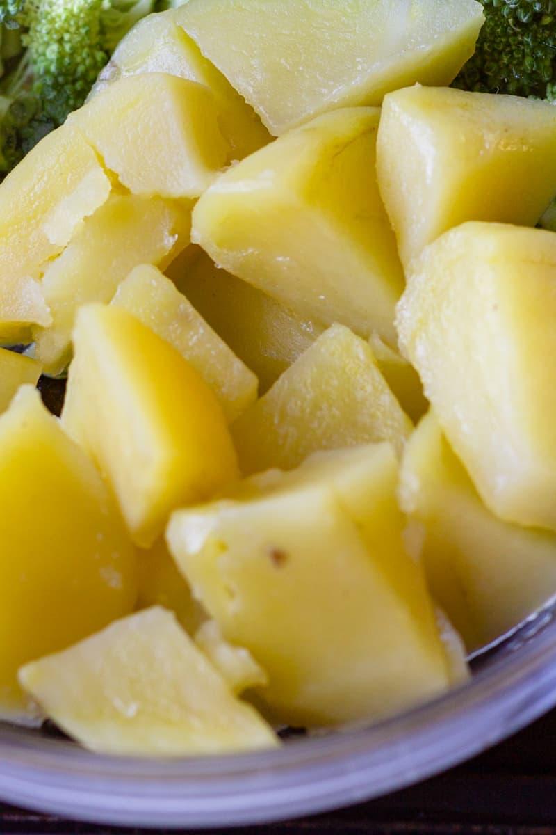 cooked gold potato chunk closes up