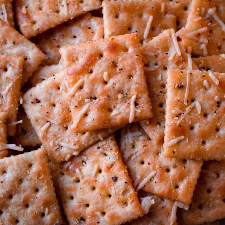 a pile of italian parmesan crackers