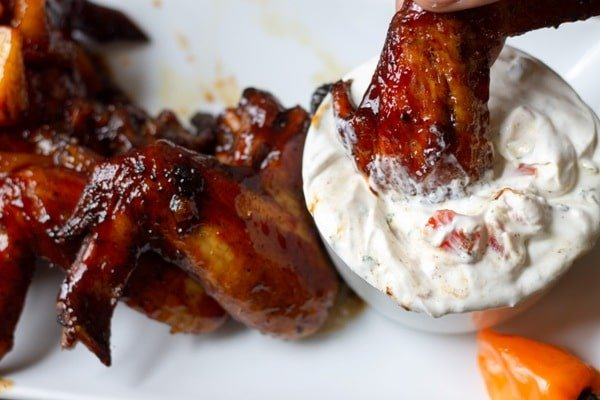 caribbean bbq wing in seasoned sour cream