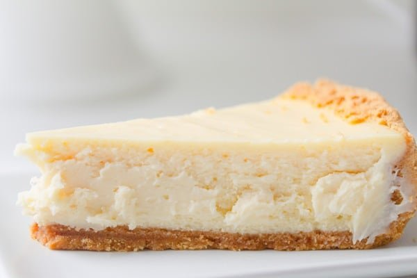 slice of crack-proof New York cheesecake on a plate