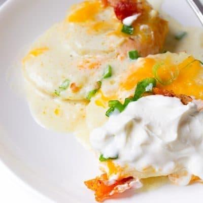 loaded baked potato casserole on a plate