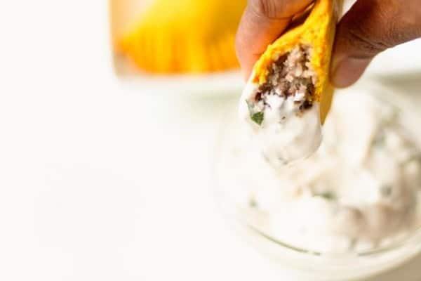 jamacian beef patty in yogurt sauce