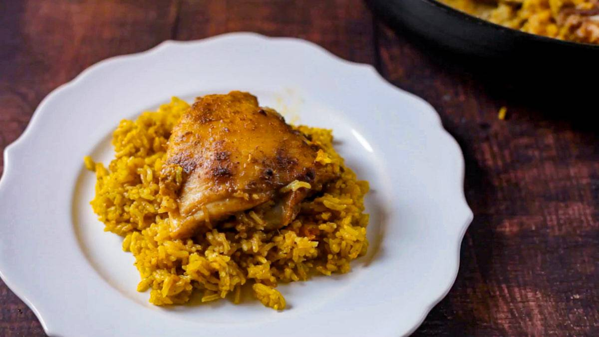 Puerto Rican Chicken and Sofrito Rice on a plate