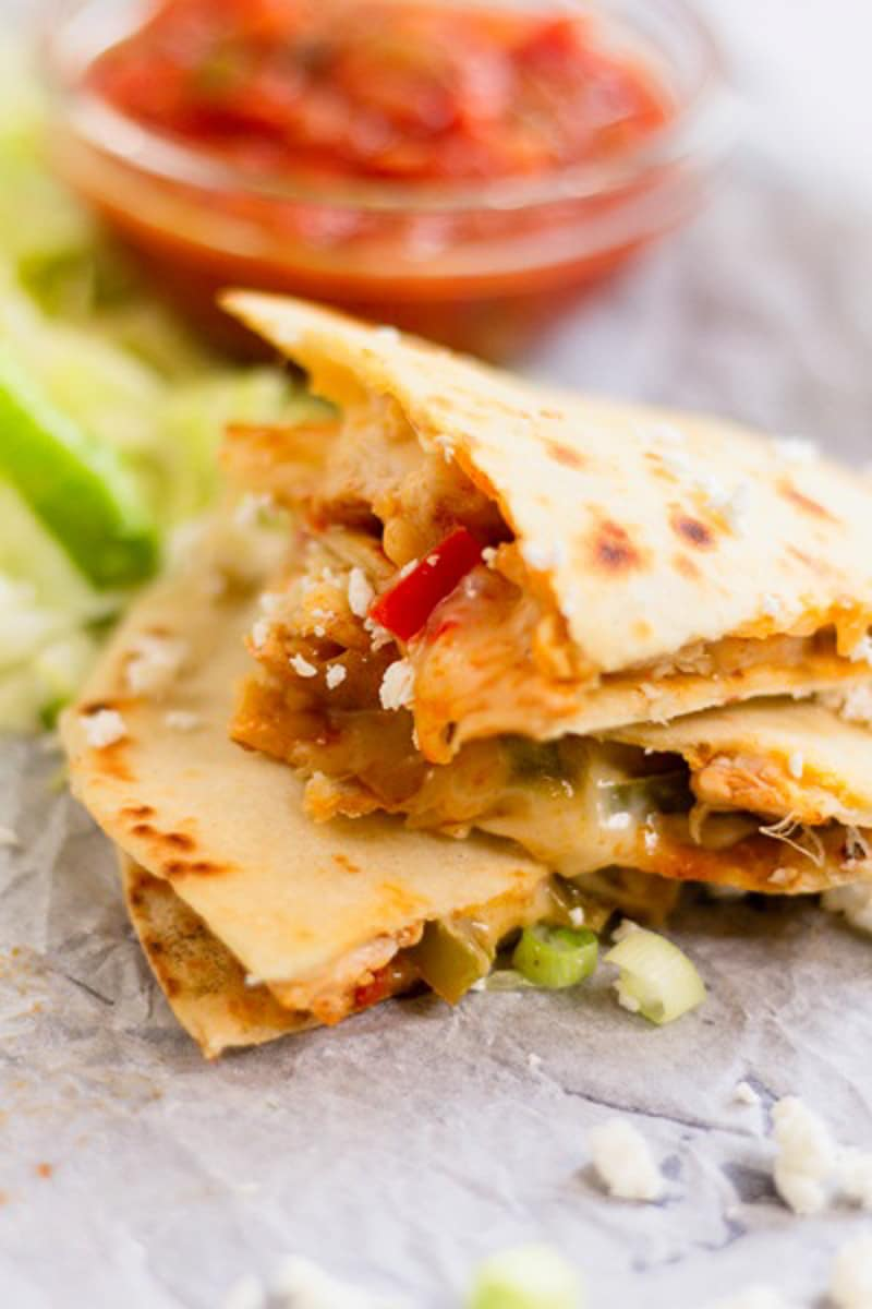 a stack of chicken fajita quesadillas