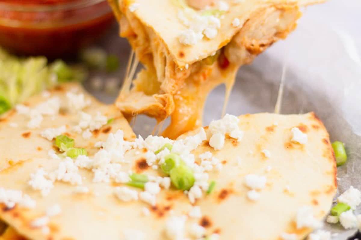 quesadilla cheese pull close up