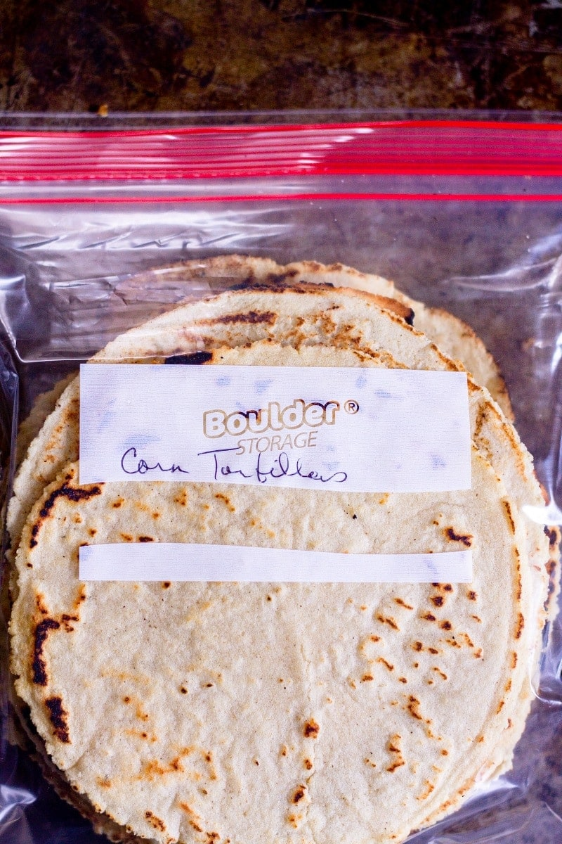 corn tortillas in a storage bag for freshness