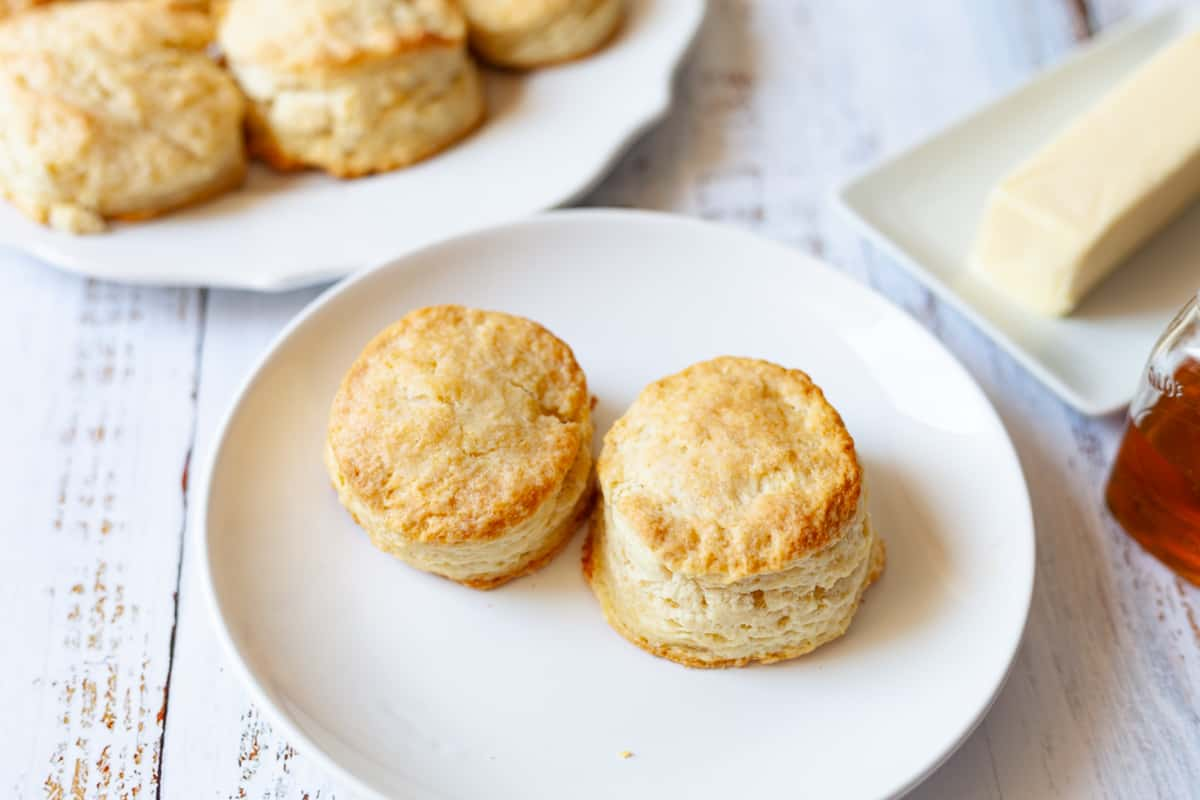 flaky biscuits on a plate
