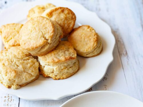 flaky southern biscuits on a plate